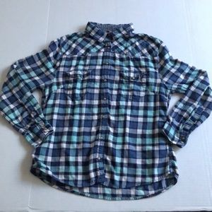 Bea Jachs Girlfriend Blue Plaid Flannel Pearl Snap